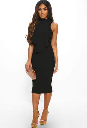 Pink Boutique Under The Radar Black Frill Top Midi Dress