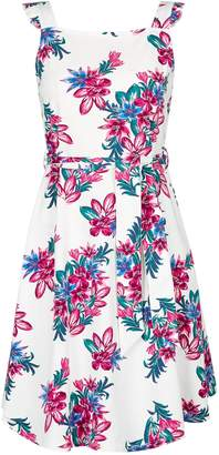 Dorothy Perkins Womens White Ruffle Tie Fit And Flare Dress
