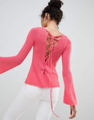 Glamorous lace up back sweater