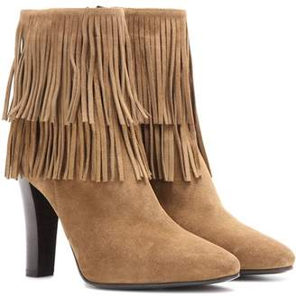 Saint Laurent Lily 95 fringed suede ankle boots