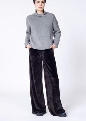 WildFang Stone Row Velvet Hook It Up Wide Leg Pant | Hook It Up Pant - BLACK - XSMALL