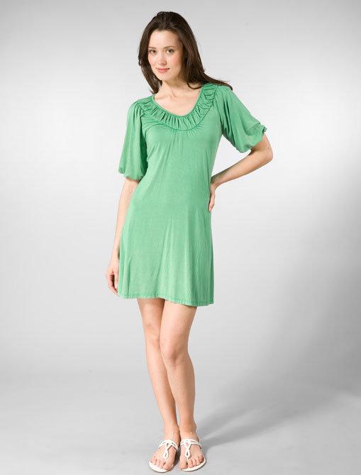 Mblem Raglan Shirred Sleeve Tunic in Green