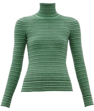 JoosTricot Striped Roll Neck Cotton Blend Sweater - Womens - Green Multi