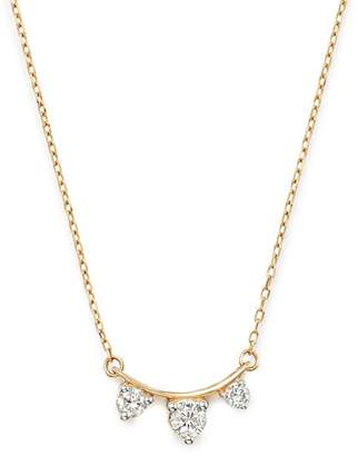 "Adina 14K Yellow Gold Amigos Diamond Curve Necklace, 15"""