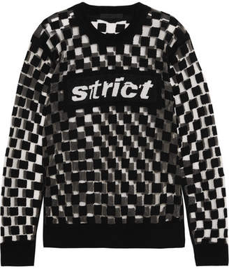 Alexander Wang Flocked Mesh And Intarsia Wool-blend Sweater - Black