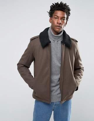Selected Wool Jacket with Fleece Collar