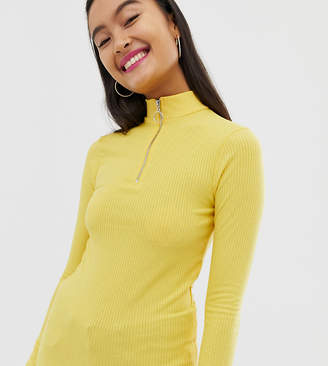 New Look zip up high neck top in yellow