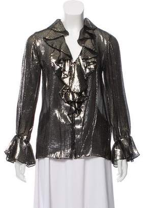 Alice + Olivia Metallic Silk Top