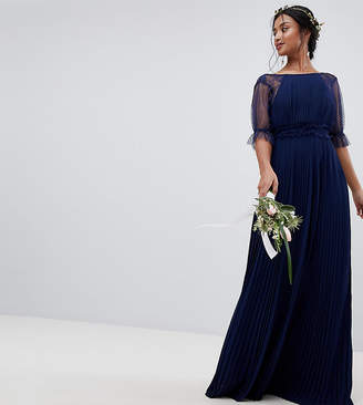 TFNC Petite Pleated Maxi Bridesmaid Dress With Spot Mesh Frill Detail