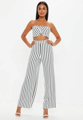 Missguided White Co Ord Stripe Wide Leg Pants