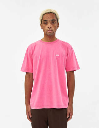 Stussy S/S Stock Crew Tee in Hot Pink