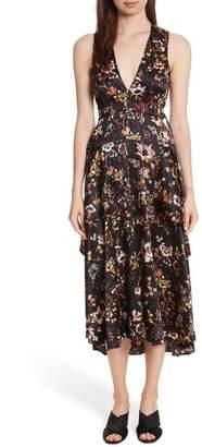 A.L.C. Verbena Floral Silk Blend Midi Dress