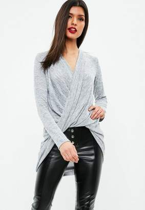 Missguided Gray Casual Sexy Drape Twist Front Tunic