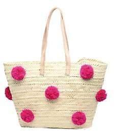 Etincelles New Women's Panier Artisanal Pompom Fuschia In Pink