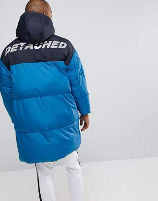 Asos Oversized Puffer Jacket with Back Print in Blue