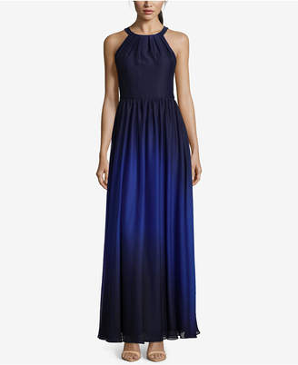 Betsy & Adam Ombre Chiffon Halter Gown