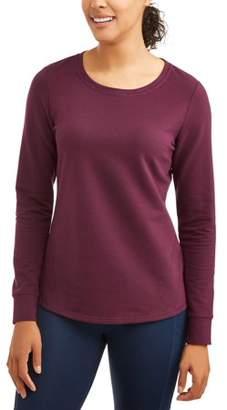 Athletic Works Women's Essential Crewneck Sweatshirt with Flattering Front Seams