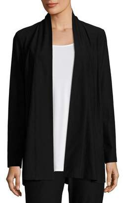 Eileen Fisher Lightweight Washable Stretch-Crepe Topper Jacket/Cardi, Black
