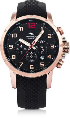 Strumento Marino Summertime Rose Gold Pvd Stainless Steel and Black Silicone Men's Chronograph Watch