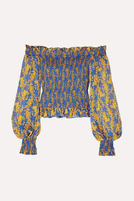 Caroline Constas Damaris Off-the-shoulder Shirred Printed Silk-chiffon Top - Blue