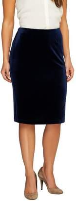 Susan Graver Stretch Velvet Pull-On Slim Skirt w/Elastic Waist