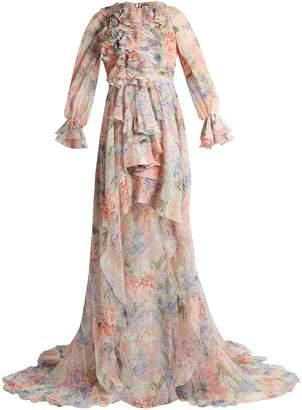 Gucci Hydrangea-print silk-chiffon gown