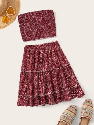 Shein Confetti Print Shirred Tube Top & Ruffle Hem Skirt