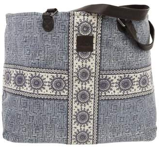 Ashton & Willow Denim Blue Bohemian Handbags Kendall Wide Tote Cotton Distressed Appearance Pewter Hardware Canvas Floral / Flower Tote