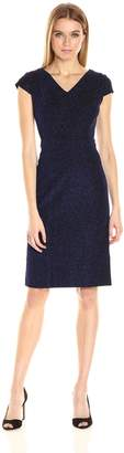 Betsey Johnson Women's Shimmer Blue Textured Knit Sheath Dress, Electric