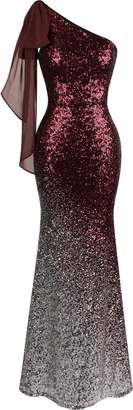 Angel-fashions Women's Asymmetric Ribbon Gradient Sequin Mermaid Long Dress (XL, )