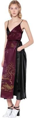 Act N°1 Two Tone Printed Silk Satin Wrap Dress