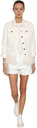 Simonetta Ravizza Crop Cotton Denim Jacket W/ Feather Hem