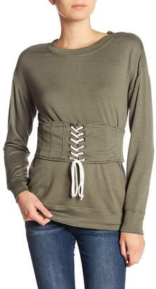 William Rast Corset Long Sleeve Pullover