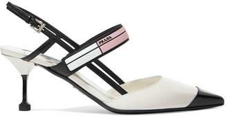 Prada Logo-print Glossed-leather Slingback Pumps