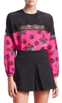 RED Valentino Lace Trim Floral Print Blouse