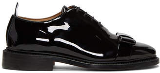 Thom Browne Black Patent Wholecut Bow Oxfords
