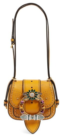 Miu MiuMiu Miu 'Dahlia' Goatskin Leather Saddle Bag - Orange