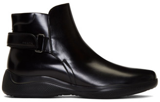 Prada Black Brushed Leather Ankle Boots