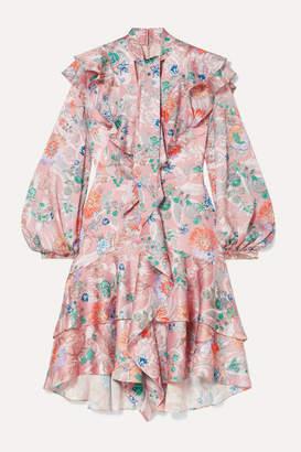 Peter Pilotto Ruffled Floral-print Hammered Silk-blend Dress - Pink