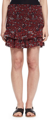 Etoile Isabel Marant Afos Floral Tiered Flounce Skirt, Burgundy/Gray $170 thestylecure.com