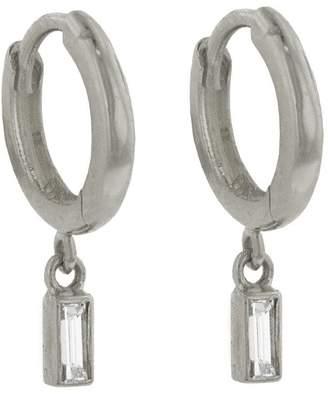 Jennifer Meyer Baguette Diamond Drop Huggie Hoop Earrings - White Gold