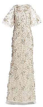 Theia Women's Embellished Flutter-Sleeve Tulle Gown