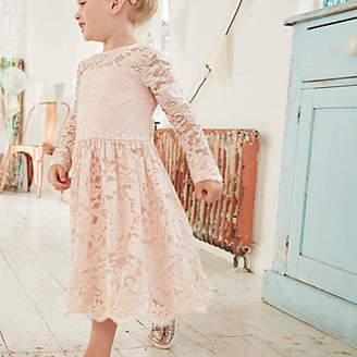 River Island Mini girls pink floral lace flower girl dress