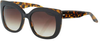 Barton Perreira Olina Chunky Cat-Eye Sunglasses, Black Tortoise/Smoky Topaz