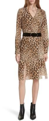 Frame Sgt. Pepper Leopard Print Silk Dress