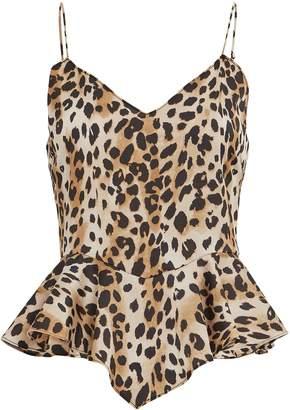 Ronny Kobo Leopard Print Peplum Camisole