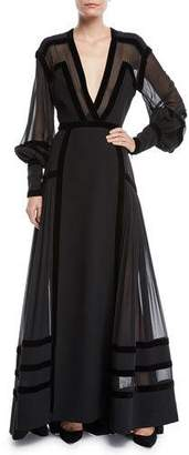 Elie Saab Plunging Long-Sleeve Crepe Cady & Georgette Evening Gown