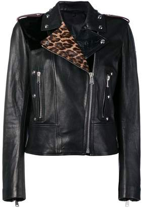 Belstaff leopard print leather jacket