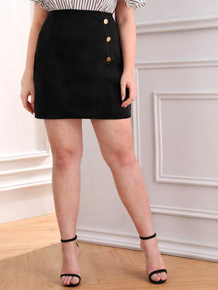 Shein Plus Button Front Zip Back Bodycon Skirt