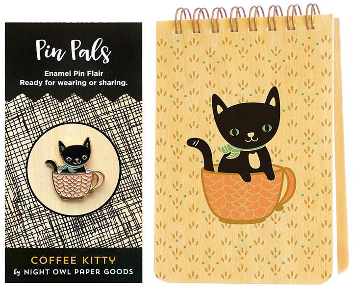 Cuppa Kitty Mini Notepad & Enamel Pin Set